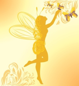 27373840 - fairy and butterflies on a yellow background