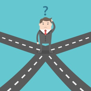 60071479 - confused businessman standing on crossroads and choosing way. choice, opportunity, confusion, career, decision and solution concept. eps 8 vector illustration, no transparency